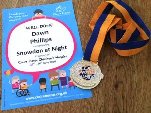 Well done to Dawn Phillips, of Priory Financial Management & her daughter Emma, for completing the Snowdon at Night walk.